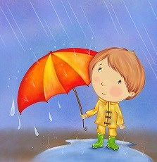 Boy with umbrella in the rain