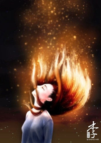 A woman with incandescent hair