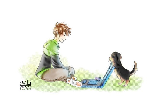 A young man in the park with his dog and a laptop