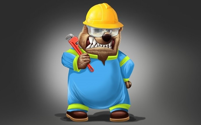 A bear wearing a hard hat